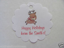 24 Personalized Baby Rudolph Reindeer Christmas Scalloped Tags Party Favors