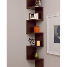 Large Home Corner Wall Mount Shelf Wooden Shelves Rack Zig Zag Modern Furniture