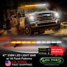 """47"""" Amber White COB LED 16 Modes Roof Top Emergency Strobe LED Light Bar 330W"""