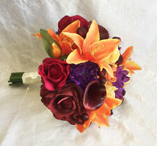 Fall Harvest Bridal Bouquet ~ Calla Lilies Silk Wedding Flowers Burgundy Orange