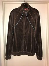 PUMA Full Zip Brown Velour Track Jacket  Casual Dress Lounge Men's Size Large