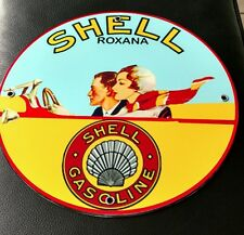 Shell Roxana Gas Oil gasoline sign
