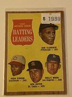 🔥 1962 TOPPS Baseball Card Set #52 🔥 BATTING LEADERS 🔥 ROBERTO CLEMENTE