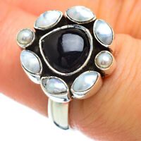 Black Onyx, Cultured Pearl 925 Sterling Silver Ring Size 7.25 Jewelry R47979F