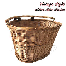 BICYCLE WICKER BASKET SHOPPING BAG LEATHER STRAPS BIKE CYCLING CARRY HANDLE