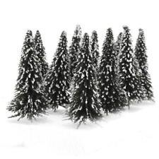 10pcs Cedar Tree Model w/Snow Covering for Railways Road Scenery Layout Ho Gauge