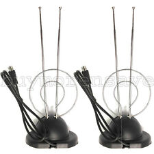 2PC TV Antenna W Base HDTV UHF VHF Indoor Color Reception Universal Rabbit Ear