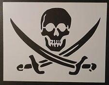 "Pirate Skull Crossed Swords Flag 11"" x 8.5"" Custom Stencil FAST FREE SHIPPING"
