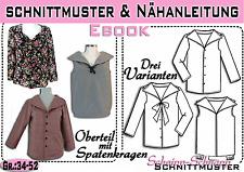 Bluse mit Spatenkragen pdf.Schnittmuster und Nähanleitung Gr.:34-50
