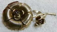 Vintage Rose Flower Brooch Pin Rose Bud Gold Tone Textured Costume FreeShip