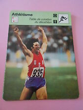 Athlétisme Tabel de cotation du Décathlon Fiche Card 1977