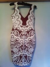 BNWT LIPSY WINE/ RED AND WHITE PUFF PRINT BODYCON DRESS SIZE 10