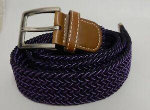 Men's Purple Stretch Elastic Braided Woven Belt with Tan Faux Leather Trim Belt