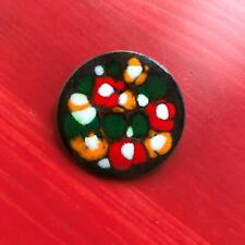 "1.25"" Round Copper Base w Glaze Enamel Flowers Abstract Beauty Pin Impressionist"