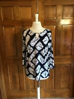 JM Collection Navy Silver & White Tunic Top Lg