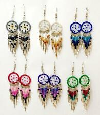 Hand Threaded DREAMCATCHER Earrings Pink Purple Turquoise Black White Green Brwn