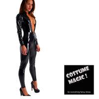 Adult Black Shiny WETLOOK CATSUIT Catwoman Ladies Fancy Dress COSTUME PVC Look