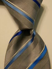 COLOR by LITTLE BLACK TIE Men's Necktie Skinny STRIPED Gray/Blue/White NWT