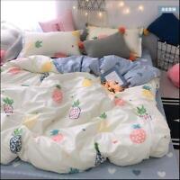 Flower Pineapple Bedding Set Duvet Quilt Cover+Sheet+Pillow Case Four-Piece New