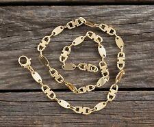 Steigbügelkette Plattenkette Plättchenkette Halskette Glieder 60 cm vergoldet