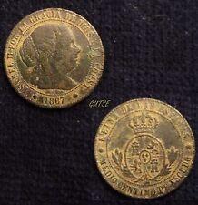 *GUTSE*565-ISABEL II, 1/2 CÉNTIMO DE ESCUDO 1867, BARCELONA OM