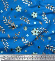 Soimoi Azul popelina de algodon Tela semillas de bayas y de cenizas-zrm