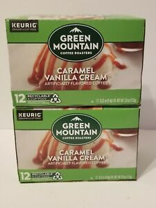 Green Mountain K-Cup Pods 24Ct Caramel Vanilla Cream Light Roast Keurig
