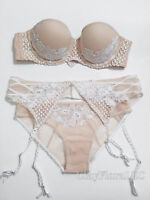 Victoria's Secret Dream Angels Embroidered strapless Bra set white ivory garter