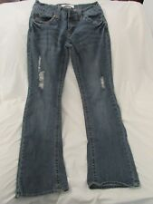"""Ladies """"Hydraulic"""" Size 7/8 (W29/L31) Blue, Destructed/Destroyed, Boot Cut Jeans"""