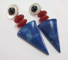 1980s ARROWHEAD DANGLE EARRINGS HOWLITE CARNELIAN ONYX STERLING SILVER KINETYK