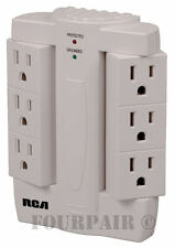 RCA 6 Outlet Side Socket Swivel Space Saver Power Wall Tap Strip Surge Protector