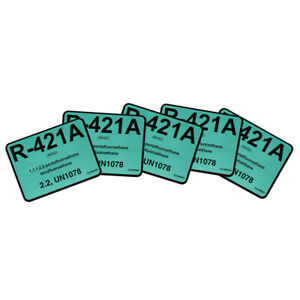 R-421A / R421A Dynatemp R22 Replacement # 04421 Pack of (5) Refrigerant Labels