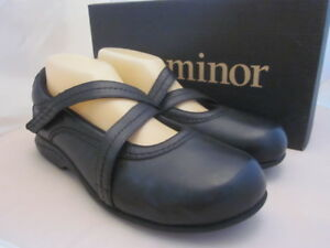 """P.W. MINOR """"Zoey"""" Black Leather Mary Jane Shoe 8 N New Womens Cushioned Comfort"""