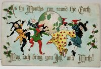 Jesters Celebrate Circling the Earth Clown Witch Costumes Joy Mirth Postcard B17