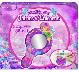 Fairies & Unicorn Mould And Paint Make Your Own Mirror Set Girls Craft Activity