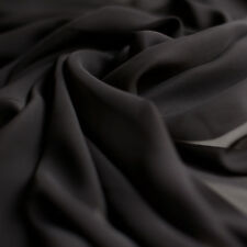 Plain Black Chiffon Plain Woven Dress Sheer Fabric - 150cm wide - per metre