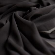 Plain Black Chiffon Plain Woven Dress Sheer Fabric - 150cm wide - per metre