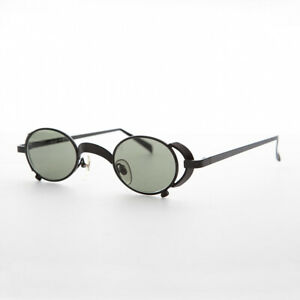 Oval Vintage Steampunk Sunglass in Black with Side Shields -Byron