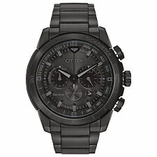 Citizen Eco Drive CA4184-81E Mens Black Ion Plated Steel Chrono Date 48mm Watch