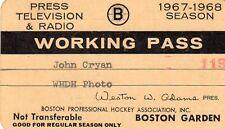 1967-68 Jean Beliveau 400 Goal/Derek Sanderson Calder Trophy Ticket Pass Bruins