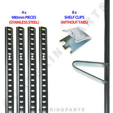 FRIDGE SHELVING KIT 4 x LENGTHS STAINLESS STEEL PILASTER RAIL 980mm + 8 CLIPS