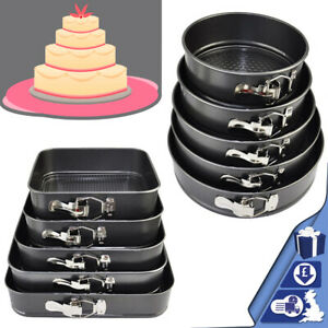 Round / Square Non-Stick Cake Mould Tins 5pc Baking Tray Bake Plate Spring Foam