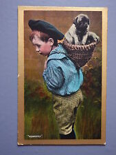 R&L Postcard: Edwardian Boy in Period Clothing Puppy Dog in Basket, Valentines