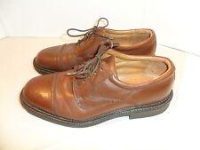 Borelli Men's Cap Toe Shoes Dress Comfort Oxfords Brown Leather ITALIAN MADE-9.5