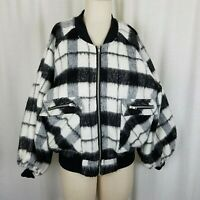 Forever 21 Contemporary Buffalo Plaid Mohair Wool Bomber Jacket Womens M Black
