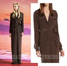 $1,850 GUCCI LONG DRESS BROWN SILK BUTTON-DOWN MAXI SHIRT STYLE GOWN 42 / US 6