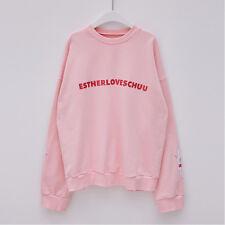 EstherLovesYou X Chuu Red Logo Pink Women Bunny Sweat Shirts Long Sleeves