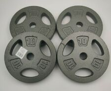 "x4 10 LB CAP 1"" Hole Iron GRIP Weight Plates Set of Four - 40 Lbs. Total"