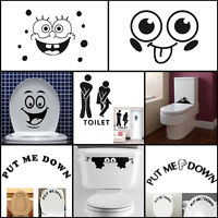 WC Retrete Asiento De Inodoro Tocador Baño Pegatina Etiqueta Pared Wall Sticker