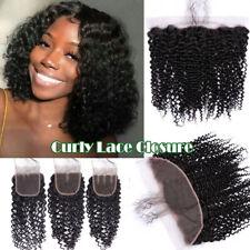 Frontal Closure 13*4 Kinky Curly Piece Peruvian 100% Virgin Human Hair Weft USPS
